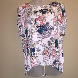 Cable & Gauge Floral Cold Shoulder T-shirt